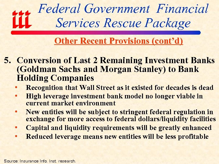 Federal Government Financial Services Rescue Package Other Recent Provisions (cont'd) 5. Conversion of Last