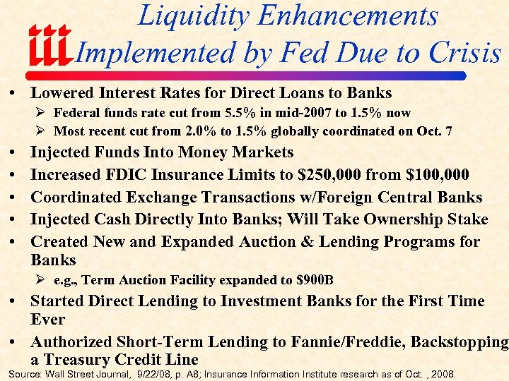 Liquidity Enhancements Implemented by Fed Due to Crisis • Lowered Interest Rates for Direct