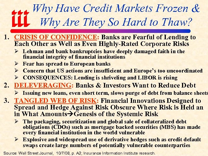 Why Have Credit Markets Frozen & Why Are They So Hard to Thaw? 1.