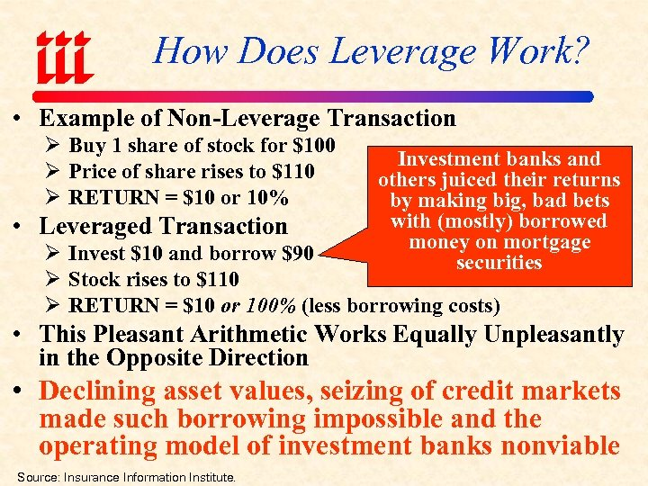 How Does Leverage Work? • Example of Non-Leverage Transaction Ø Buy 1 share of