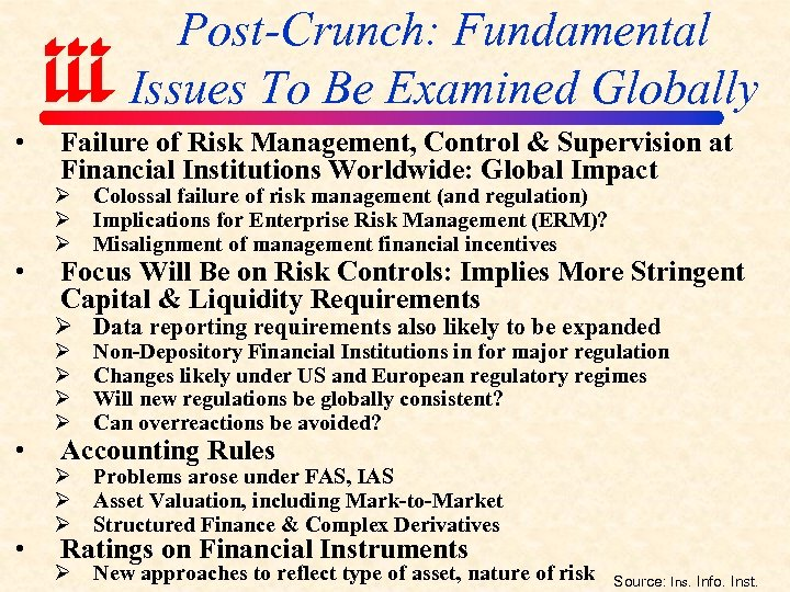 Post-Crunch: Fundamental Issues To Be Examined Globally • • Failure of Risk Management, Control