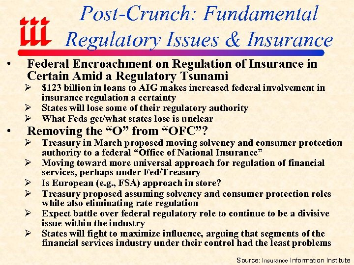 Post-Crunch: Fundamental Regulatory Issues & Insurance • • Federal Encroachment on Regulation of Insurance