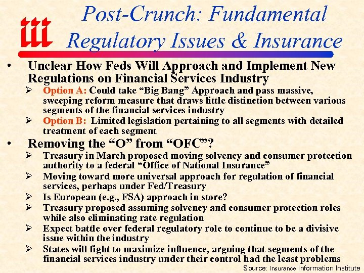 Post-Crunch: Fundamental Regulatory Issues & Insurance • • Unclear How Feds Will Approach and