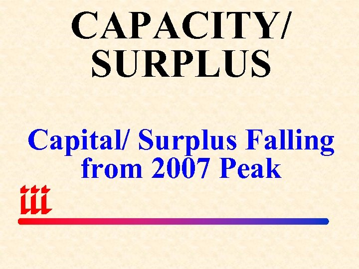 CAPACITY/ SURPLUS Capital/ Surplus Falling from 2007 Peak