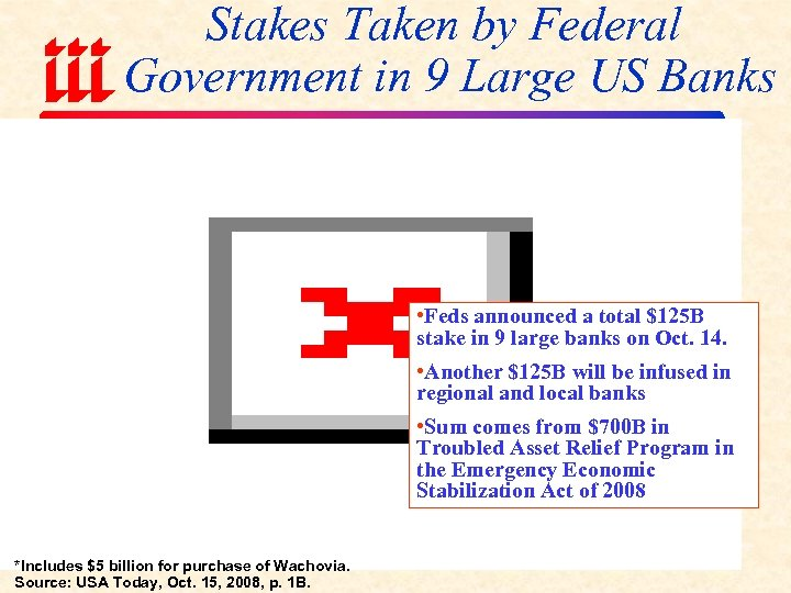 Stakes Taken by Federal Government in 9 Large US Banks • Feds announced a