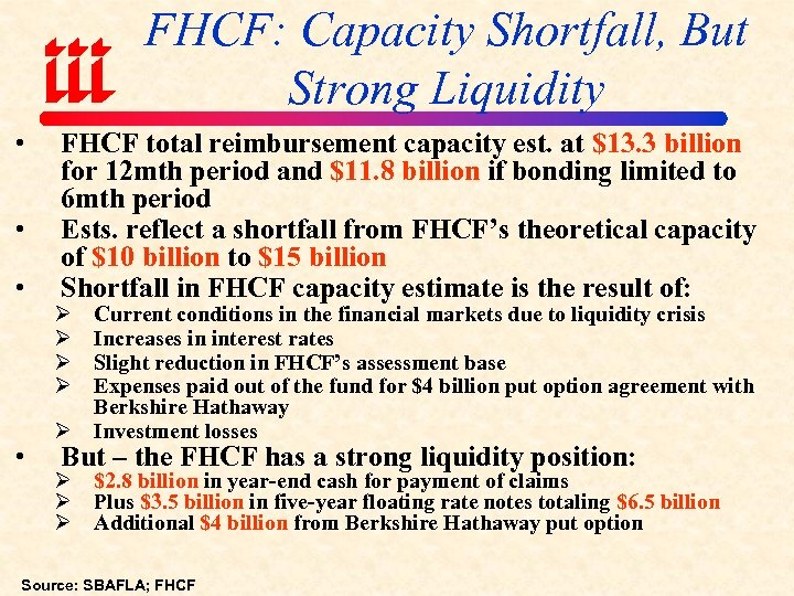 FHCF: Capacity Shortfall, But Strong Liquidity • • FHCF total reimbursement capacity est. at
