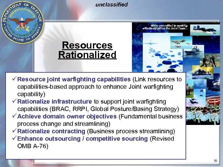 unclassified Resources Rationalized ü Resource joint warfighting capabilities (Link resources to capabilities-based approach to