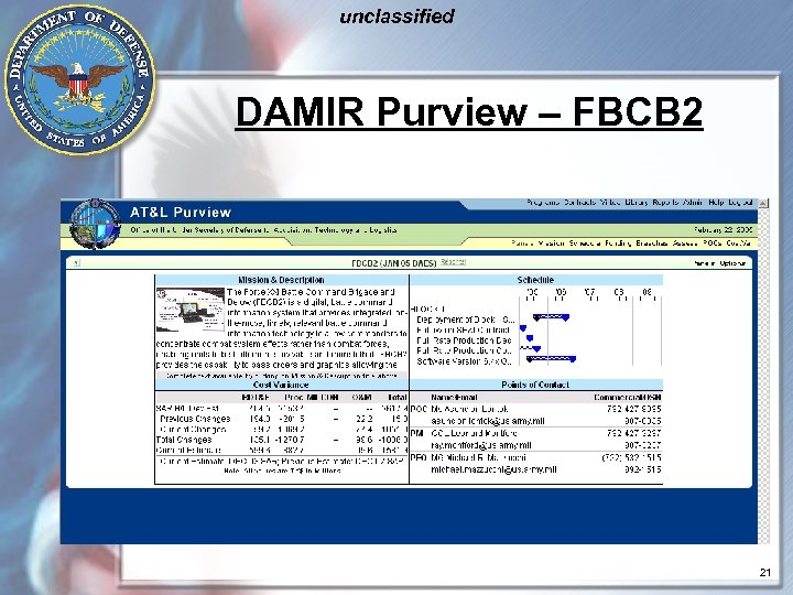 unclassified DAMIR Purview – FBCB 2 21