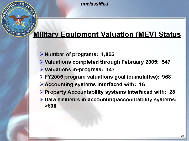 unclassified Military Equipment Valuation (MEV) Status Ø Number of programs: 1, 055 Ø Valuations