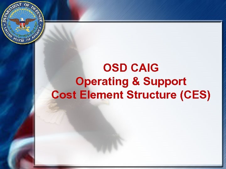 OSD CAIG Operating & Support Cost Element Structure (CES)