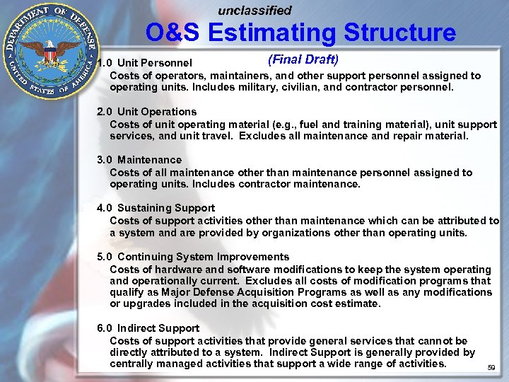 unclassified O&S Estimating Structure (Final Draft) 1. 0 Unit Personnel Costs of operators, maintainers,