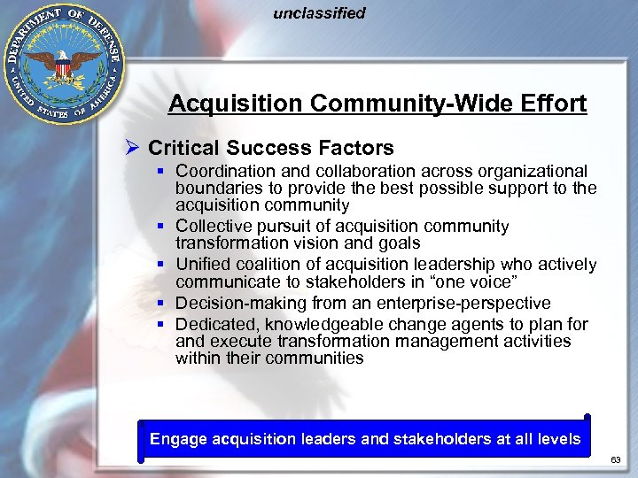 unclassified Acquisition Community-Wide Effort Ø Critical Success Factors § Coordination and collaboration across organizational