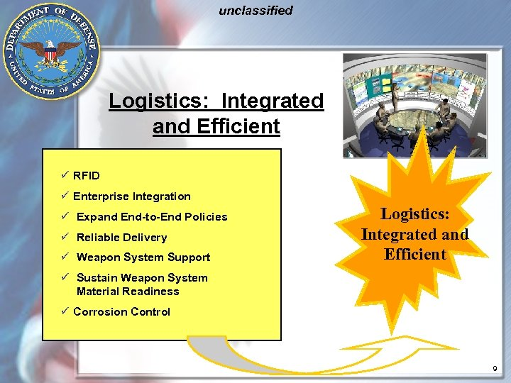 unclassified Logistics: Integrated and Efficient ü RFID ü Enterprise Integration ü Expand End-to-End Policies