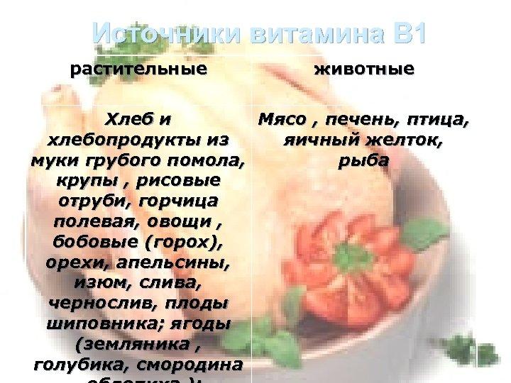 Источники витамина В 1 растительные животные Хлеб и Мясо , печень, птица, хлебопродукты из