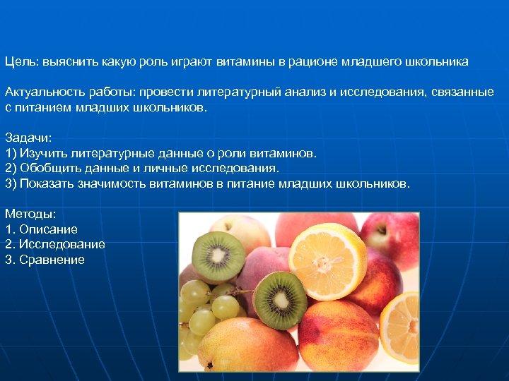 Цель: выяснить какую роль играют витамины в рационе младшего школьника Актуальность работы: провести литературный