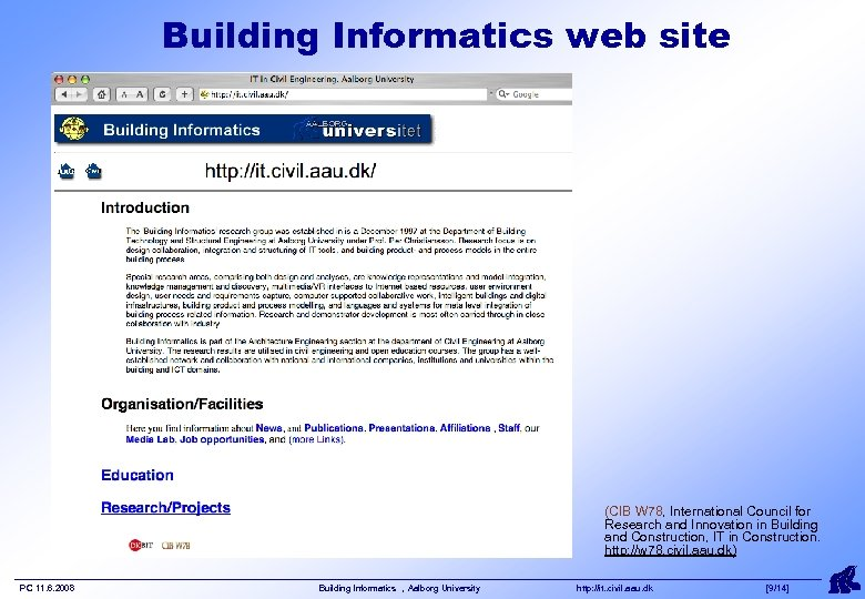 Building Informatics web site (CIB W 78, International Council for Research and Innovation in