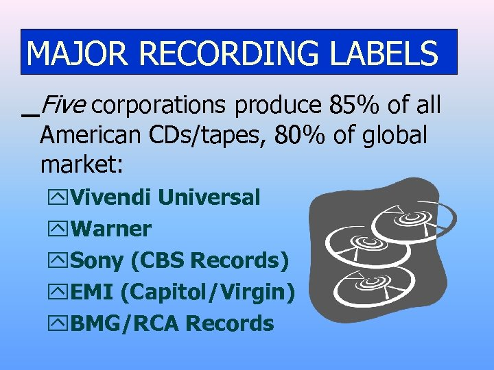 MAJOR RECORDING LABELS Five corporations produce 85% of all American CDs/tapes, 80% of global