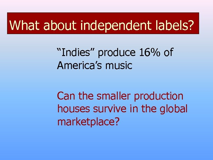 """What about independent labels? """"Indies"""" produce 16% of America's music Can the smaller production"""