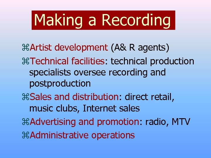 Making a Recording z. Artist development (A& R agents) z. Technical facilities: technical production