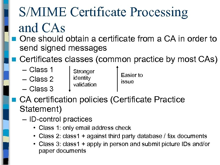 S/MIME Certificate Processing and CAs One should obtain a certificate from a CA in