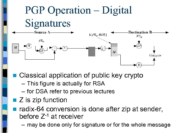 PGP Operation – Digital Signatures n Classical application of public key crypto – This