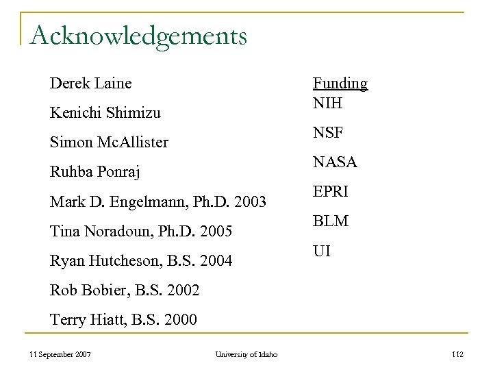 Acknowledgements Derek Laine Funding NIH Kenichi Shimizu NSF Simon Mc. Allister NASA Ruhba Ponraj
