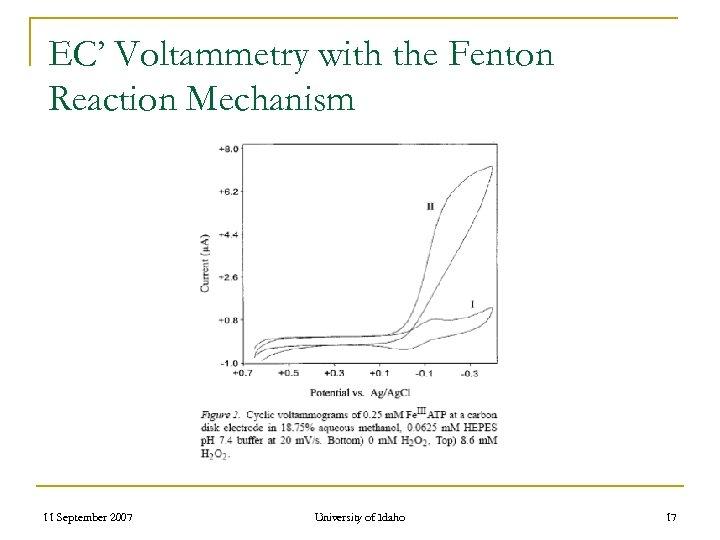 EC' Voltammetry with the Fenton Reaction Mechanism 11 September 2007 University of Idaho 17
