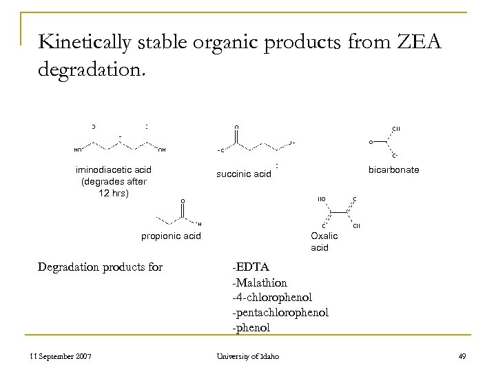 Kinetically stable organic products from ZEA degradation. iminodiacetic acid (degrades after 12 hrs) propionic