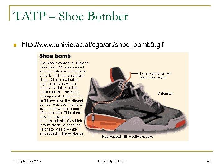 TATP – Shoe Bomber n http: //www. univie. ac. at/cga/art/shoe_bomb 3. gif 11 September