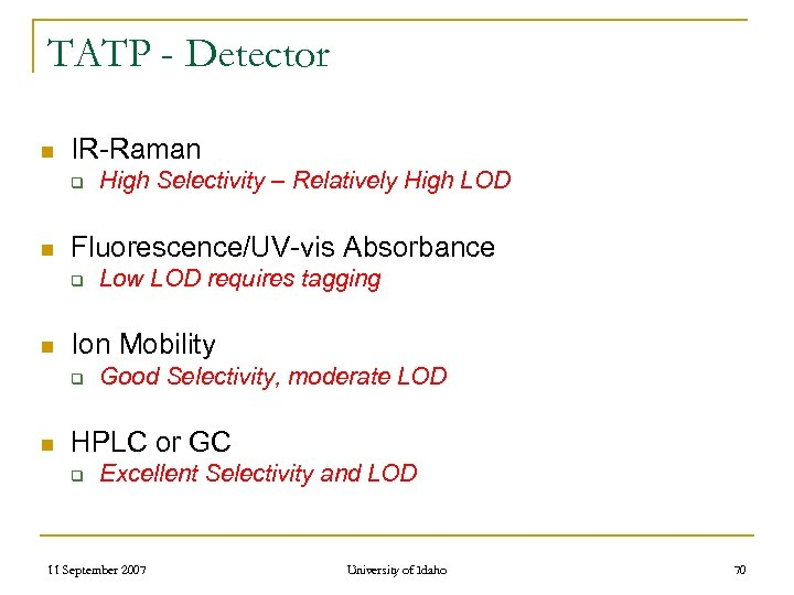 TATP - Detector n IR-Raman q n Fluorescence/UV-vis Absorbance q n Low LOD requires