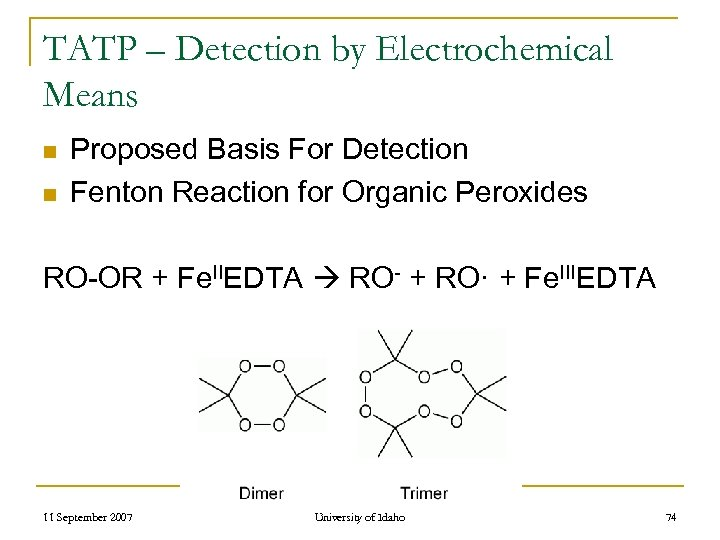 TATP – Detection by Electrochemical Means n n Proposed Basis For Detection Fenton Reaction