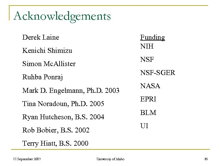 Acknowledgements Derek Laine Funding NIH Kenichi Shimizu NSF Simon Mc. Allister NSF-SGER Ruhba Ponraj