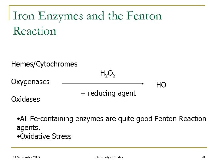 Iron Enzymes and the Fenton Reaction Hemes/Cytochromes Oxygenases Oxidases H 2 O 2 +