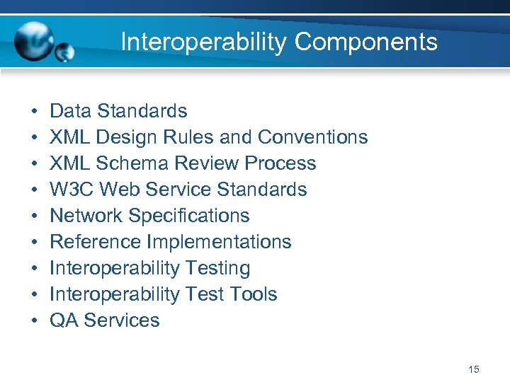 Interoperability Components • • • Data Standards XML Design Rules and Conventions XML Schema