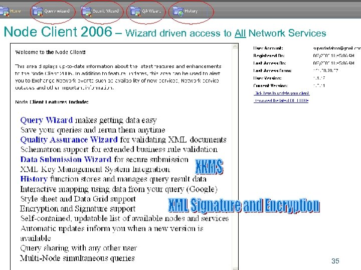 Node Client 2006 – Wizard driven access to All Network Services 35