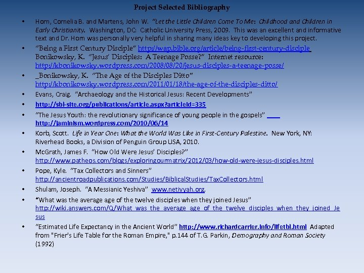 """Project Selected Bibliography • • • Horn, Cornelia B. and Martens, John W. """"Let"""