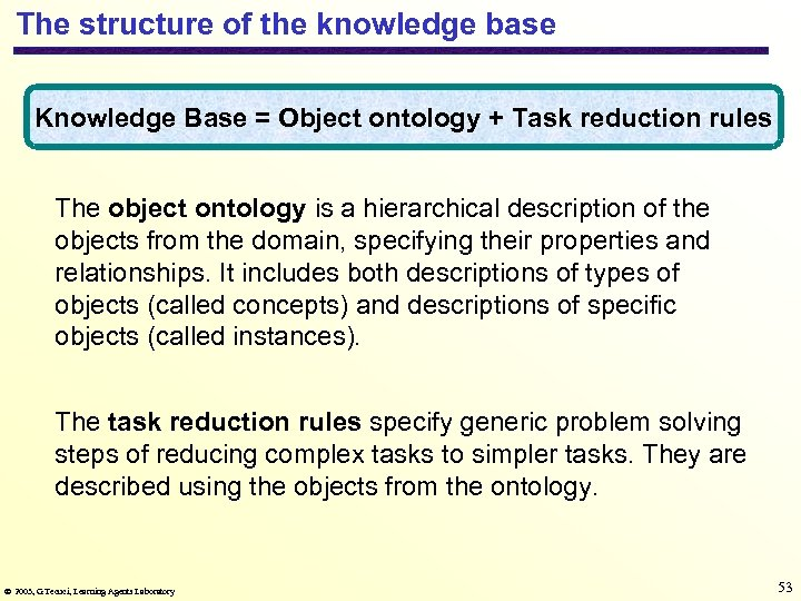The structure of the knowledge base Knowledge Base = Object ontology + Task reduction