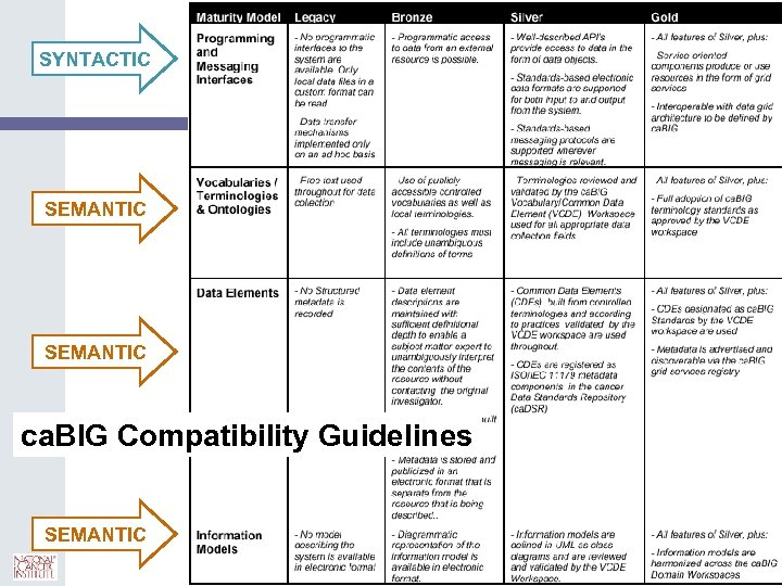 SYNTACTIC 9 SEMANTIC ca. BIG Compatibility Guidelines SEMANTIC