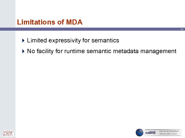 Limitations of MDA 13 4 Limited expressivity for semantics 4 No facility for runtime
