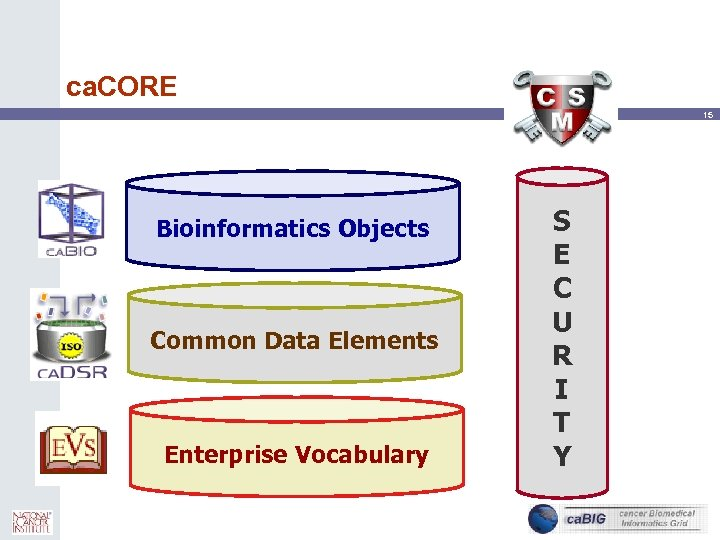 ca. CORE 15 Bioinformatics Objects Common Data Elements Enterprise Vocabulary S E C U