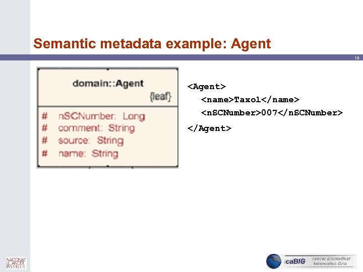 Semantic metadata example: Agent 19 <Agent> <name>Taxol</name> <n. SCNumber>007</n. SCNumber> </Agent>