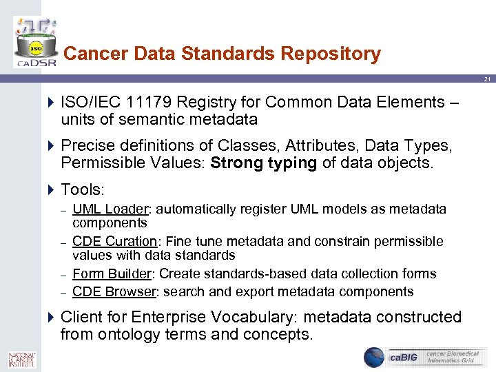 Cancer Data Standards Repository 21 4 ISO/IEC 11179 Registry for Common Data Elements –