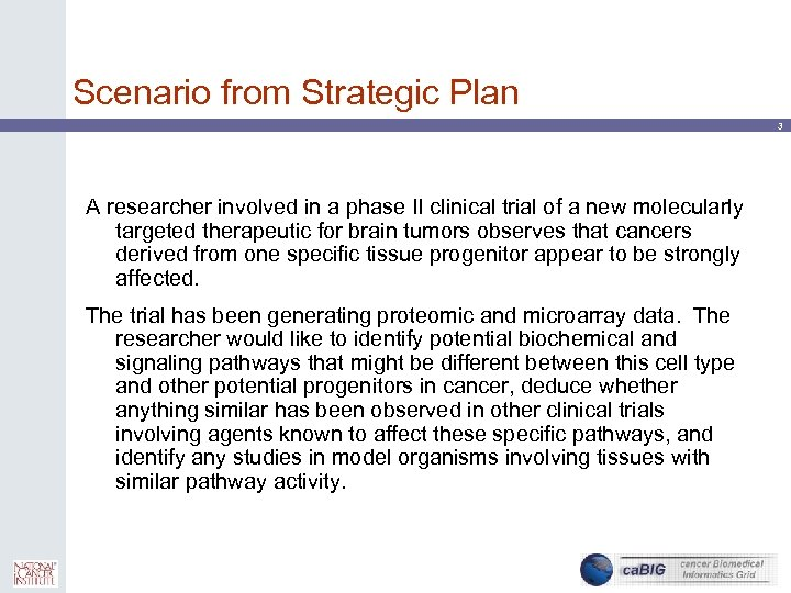 Scenario from Strategic Plan 3 A researcher involved in a phase II clinical trial