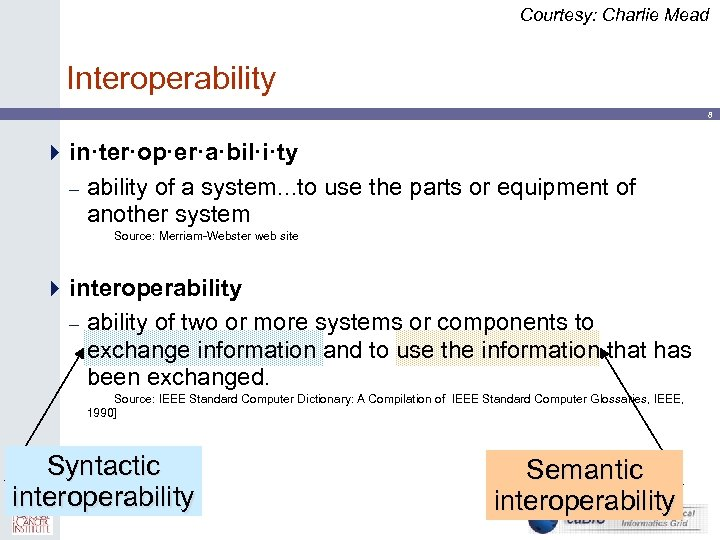 Courtesy: Charlie Mead Interoperability 8 4 in·ter·op·er·a·bil·i·ty – ability of a system. . .