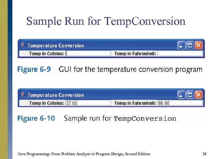 Sample Run for Temp. Conversion Java Programming: From Problem Analysis to Program Design, Second