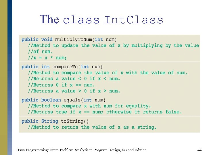 The class Int. Class Java Programming: From Problem Analysis to Program Design, Second Edition