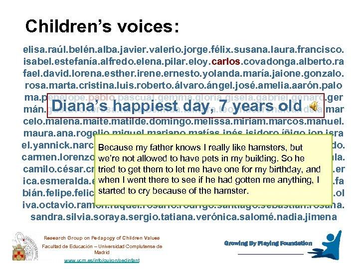 Children's voices: elisa. raúl. belén. alba. javier. valerio. jorge. félix. susana. laura. francisco. isabel.
