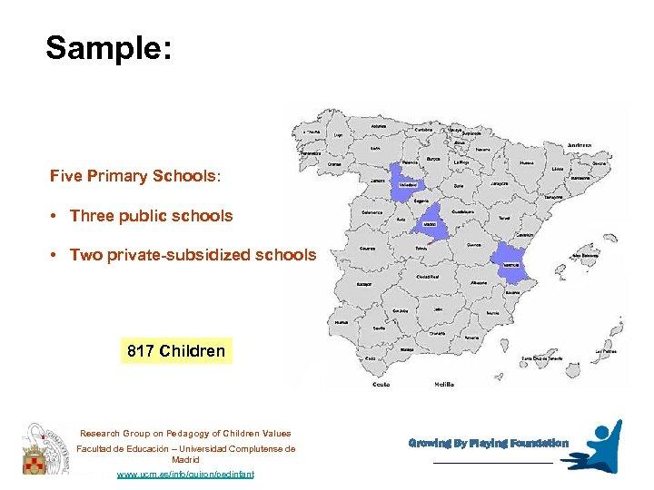 Sample: Five Primary Schools: • Three public schools • Two private-subsidized schools 817 Children