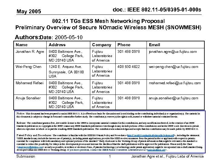 doc. : IEEE 802. 11 -05/0395 -01 -000 s May 2005 802. 11 TGs