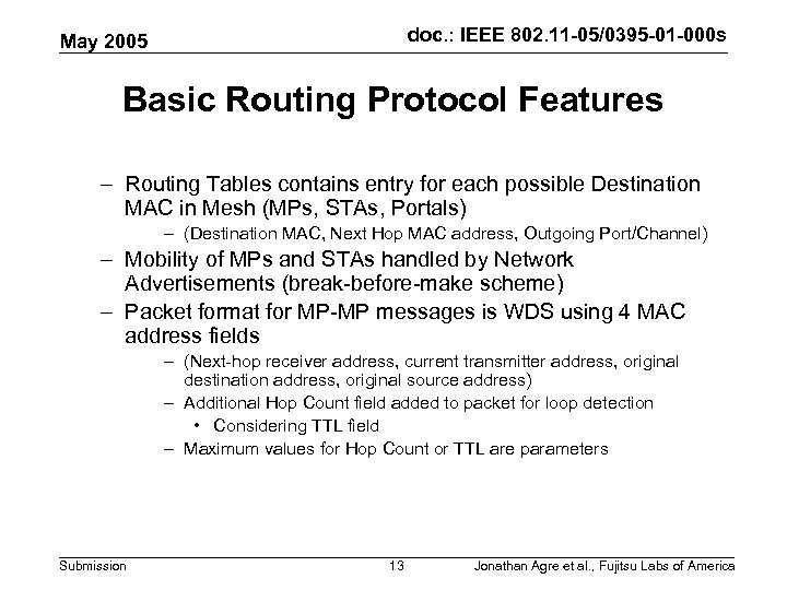 doc. : IEEE 802. 11 -05/0395 -01 -000 s May 2005 Basic Routing Protocol